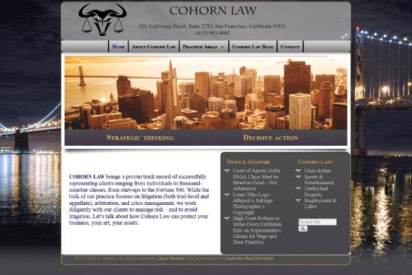 Cohorn Law Website Screenshot